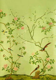 Hand painted wallpaper chinoiserie wallpaper silk for Oriental style wallpaper uk