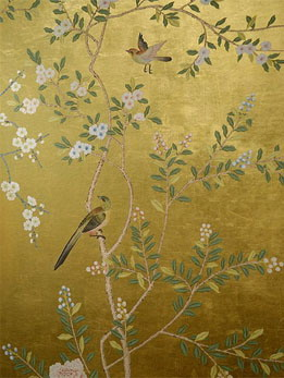 Wallpaper With Birds hand painted wallpaper :: chinoiserie wallpaper :: silk wallpaper