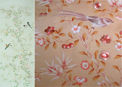 Hand Painted Wallpaper Chinoiserie Wallpaper Silk