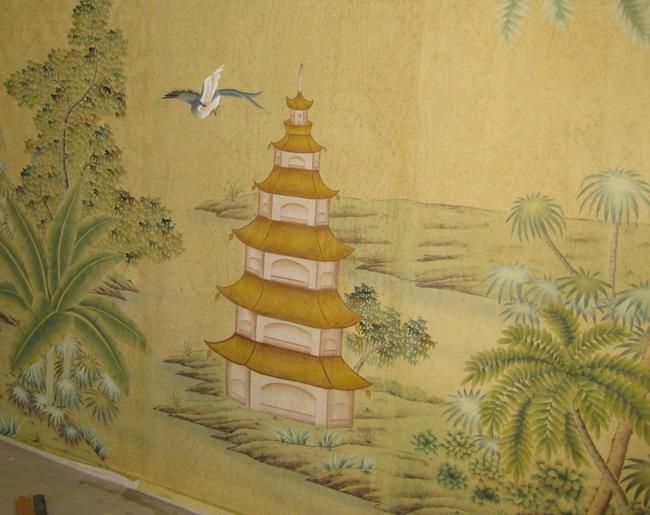 hand painted wallpaper :: chinoiserie wallpaper :: silk wallpaper ...