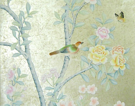 Hand Painted Wallpaper Chinoiserie Silk