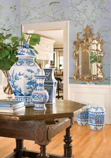 Hand painted wallpaper chinoiserie wallpaper silk for Decorating with blue and white pottery