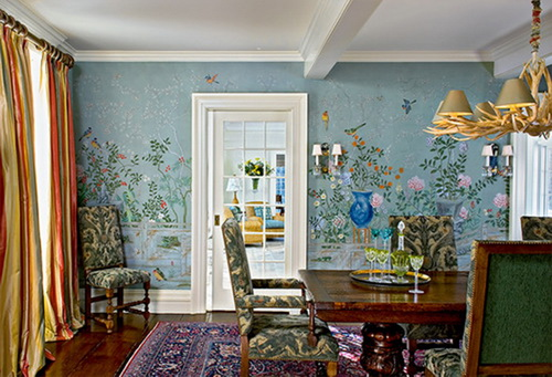 Hand painted wallpaper chinoiserie wallpaper silk for Dining room mural wallpaper
